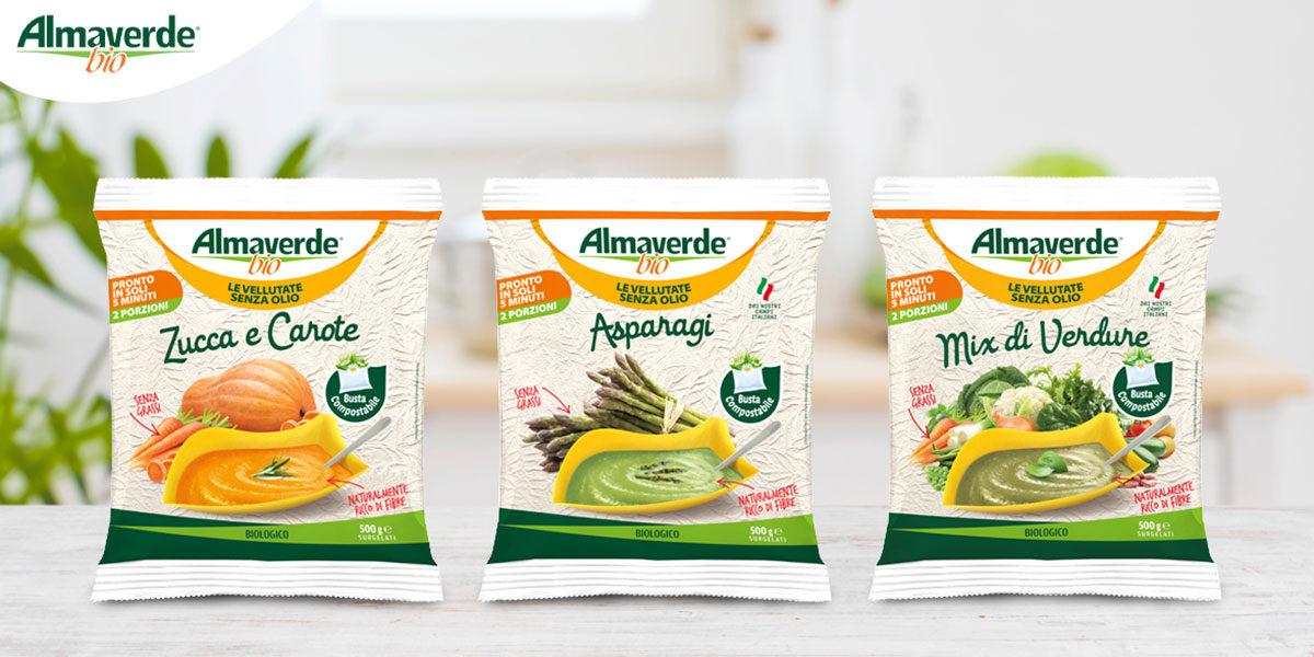 Almaverde Bio Presenta Le Vellutate Senza Olio: Tre Nuove Proposte Surgelate In Confezione Compostabile
